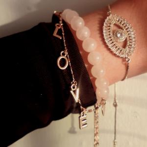 Evil Eye bracelet and Rose Quartz Love Bracelets for women